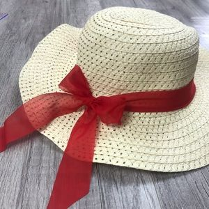 Accessories - Red Ribbon Floppy Sun Hat